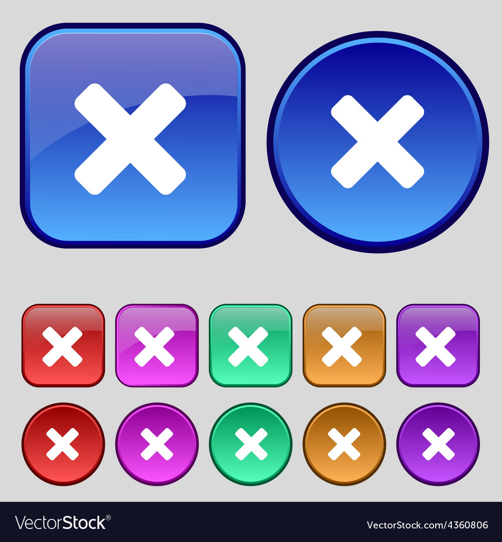 Cancel multiplication icon sign a set of twelve vector | Price: 1 Credit (USD $1)