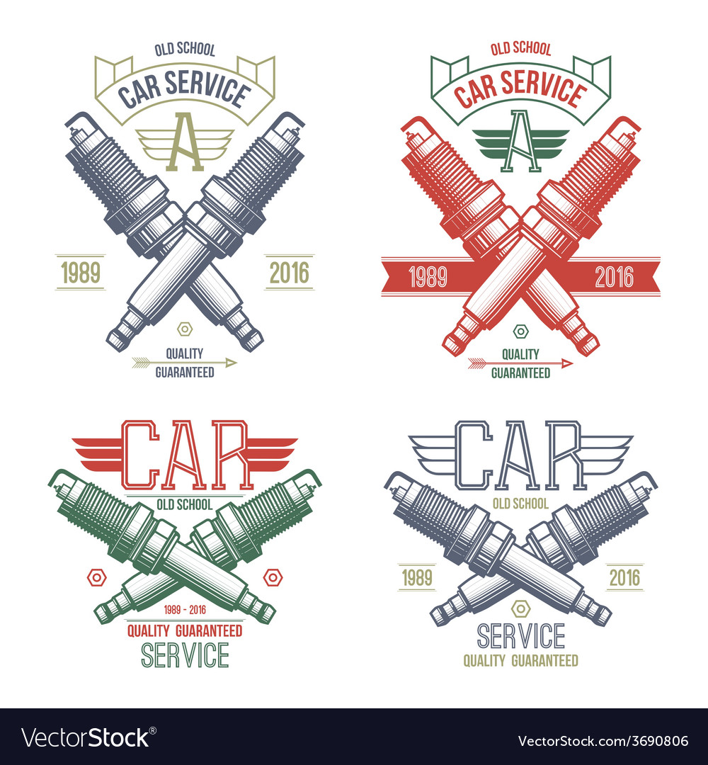 Car service spark plug emblems vector | Price: 1 Credit (USD $1)