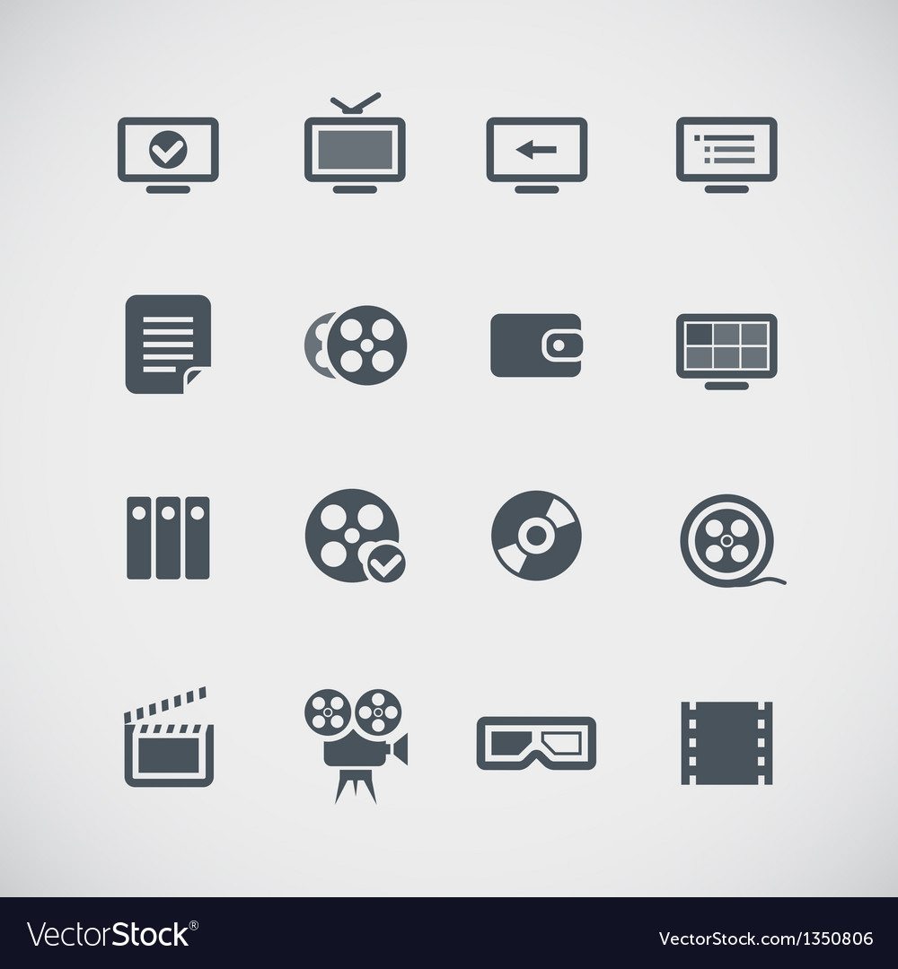Cinema web silhouettes collection vector | Price: 1 Credit (USD $1)