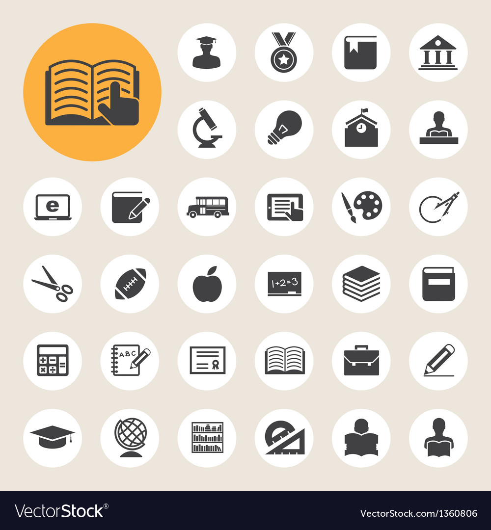 Education icons set vector | Price: 1 Credit (USD $1)
