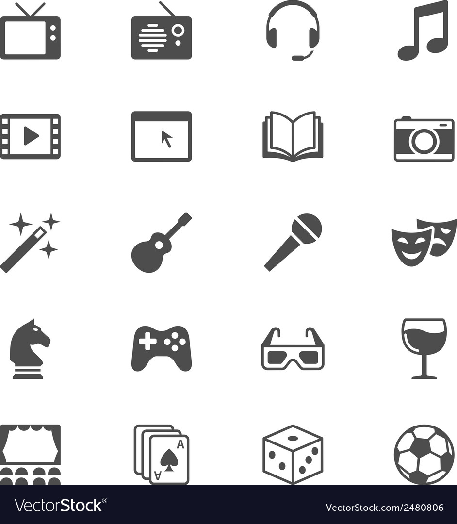Entertainment flat icons vector | Price: 1 Credit (USD $1)