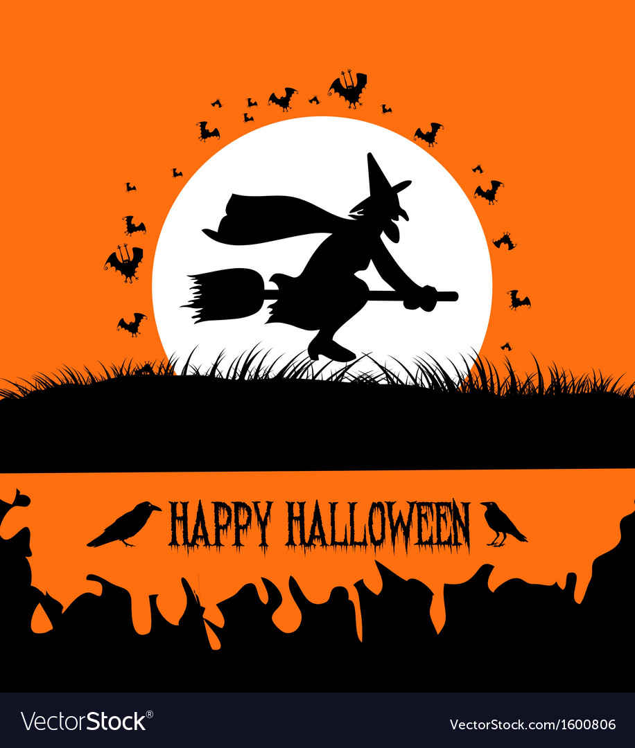 Happy halloween background with spooky witch on vector | Price: 1 Credit (USD $1)