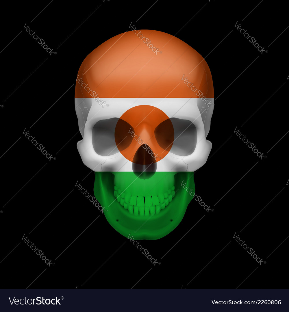 Nigerien flag skull vector | Price: 1 Credit (USD $1)