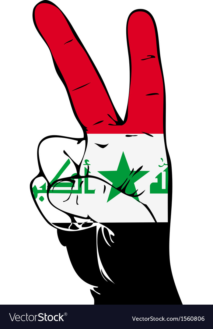 Peace sign of the iraqi flag vector | Price: 1 Credit (USD $1)