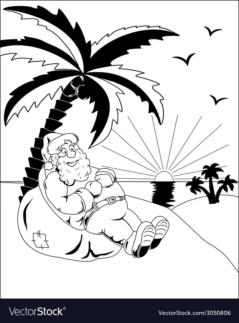 Santa claus under a palm vector