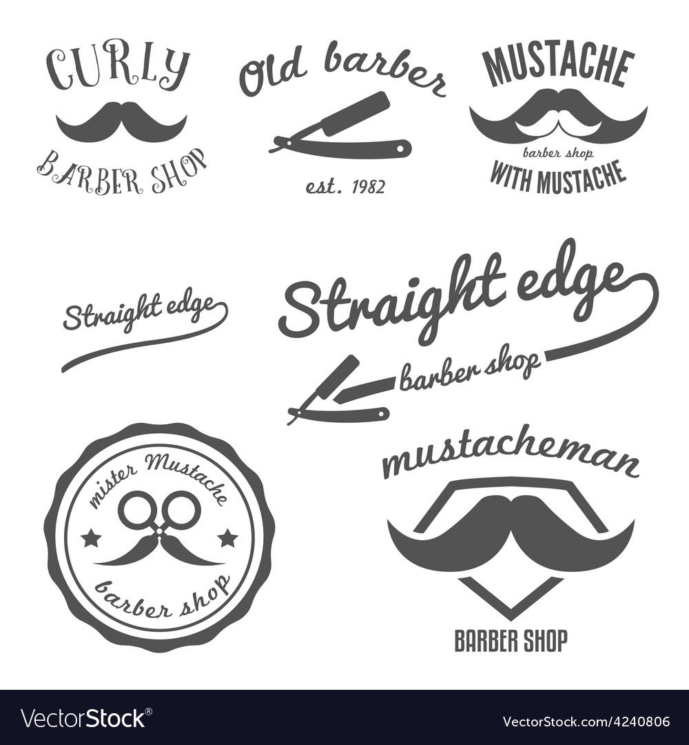 Set of vintage barber shop logo stickers labels vector | Price: 1 Credit (USD $1)