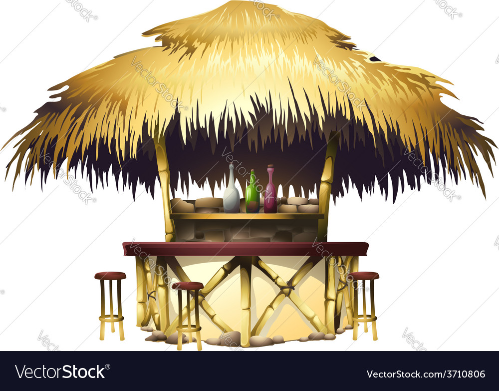 Tropical bungalow bar isolated drawing vector | Price: 3 Credit (USD $3)
