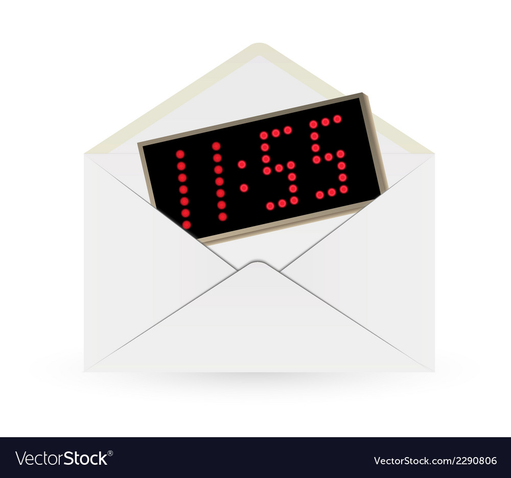 White envelope and digital watch vector   Price: 1 Credit (USD $1)