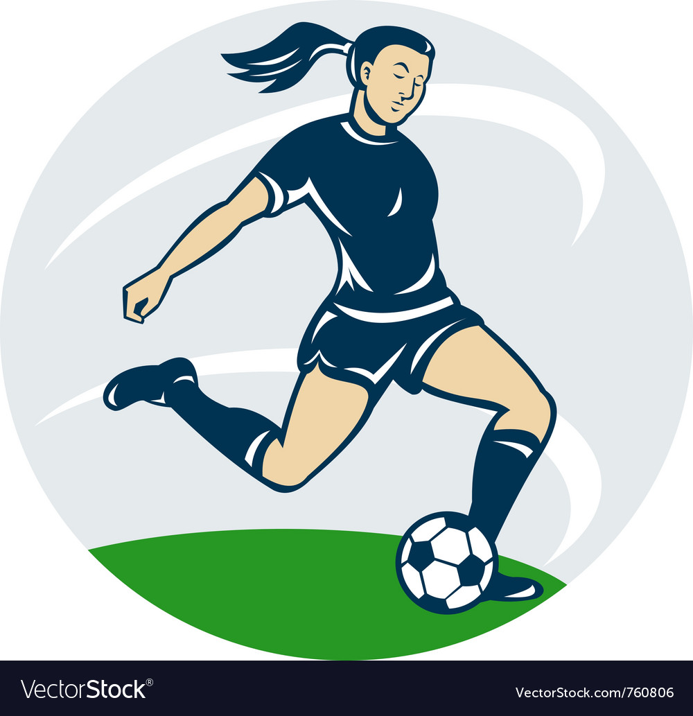 Woman girl playing soccer kicking the ball ca vector | Price: 1 Credit (USD $1)