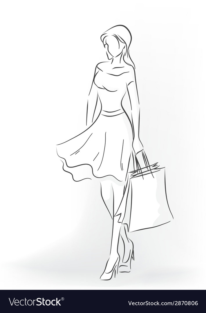 Woman with shopping bag in full length vector | Price: 1 Credit (USD $1)