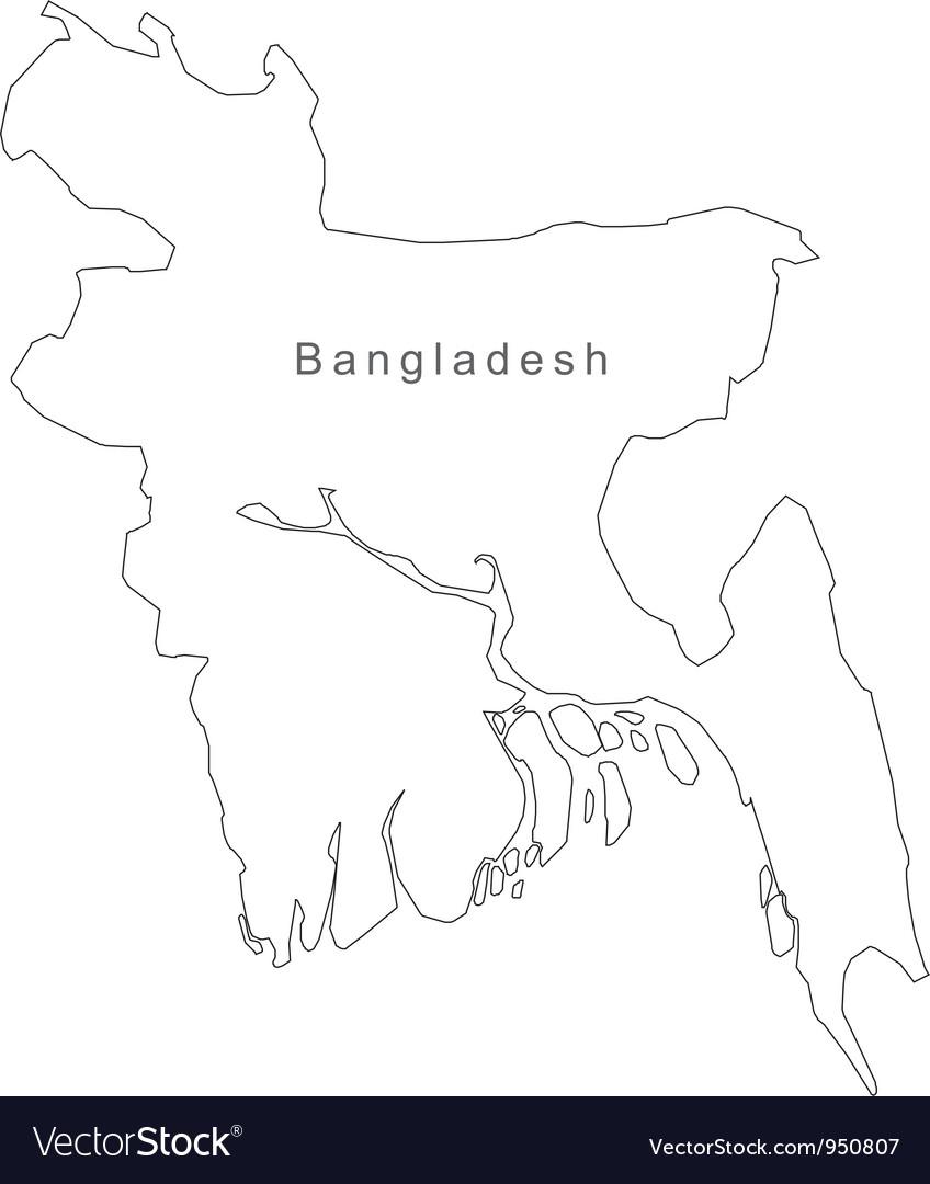 Black white bangladesh outline map vector | Price: 1 Credit (USD $1)