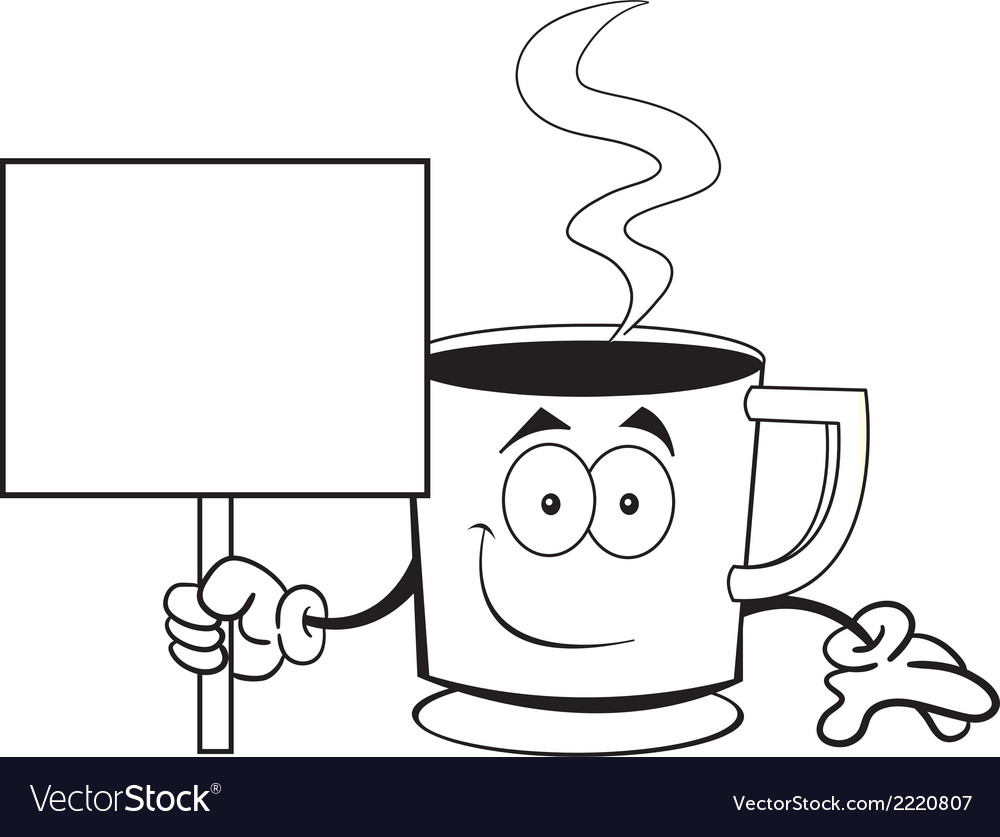 Cartoon coffee cup holding a sign vector | Price: 1 Credit (USD $1)