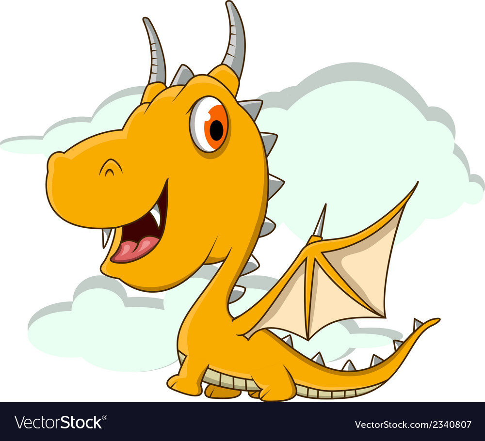 Cute little dragon cartoon vector | Price: 1 Credit (USD $1)