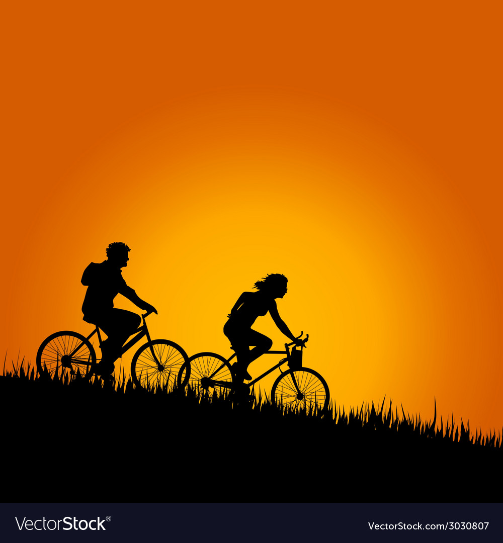 Cyclists in nature color vector | Price: 1 Credit (USD $1)