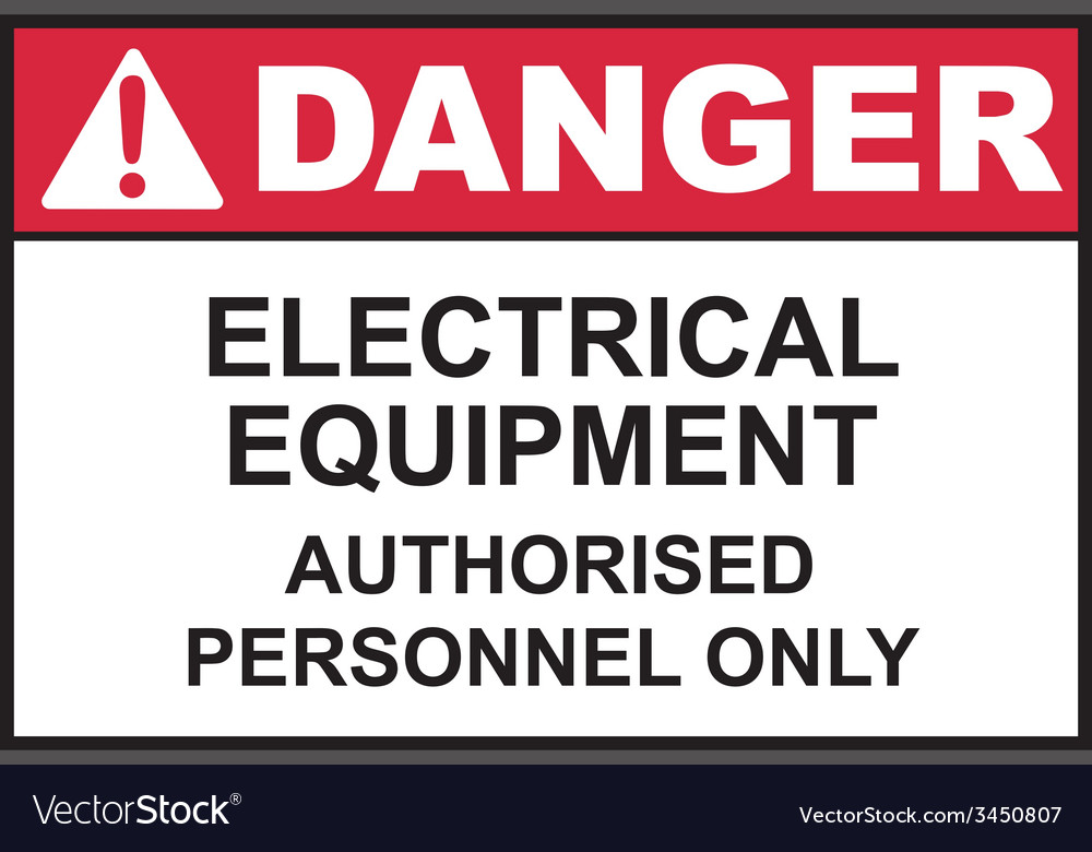 Danger electrical equipment safety sign vector | Price: 1 Credit (USD $1)