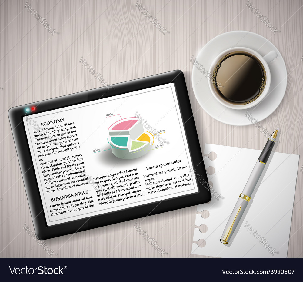 Digital tablet with info graphics and a cup of vector   Price: 1 Credit (USD $1)