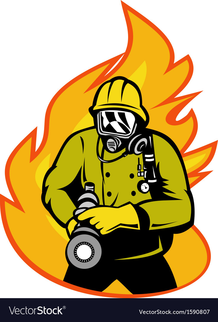 Fireman or firefighter with fire hose vector | Price: 1 Credit (USD $1)