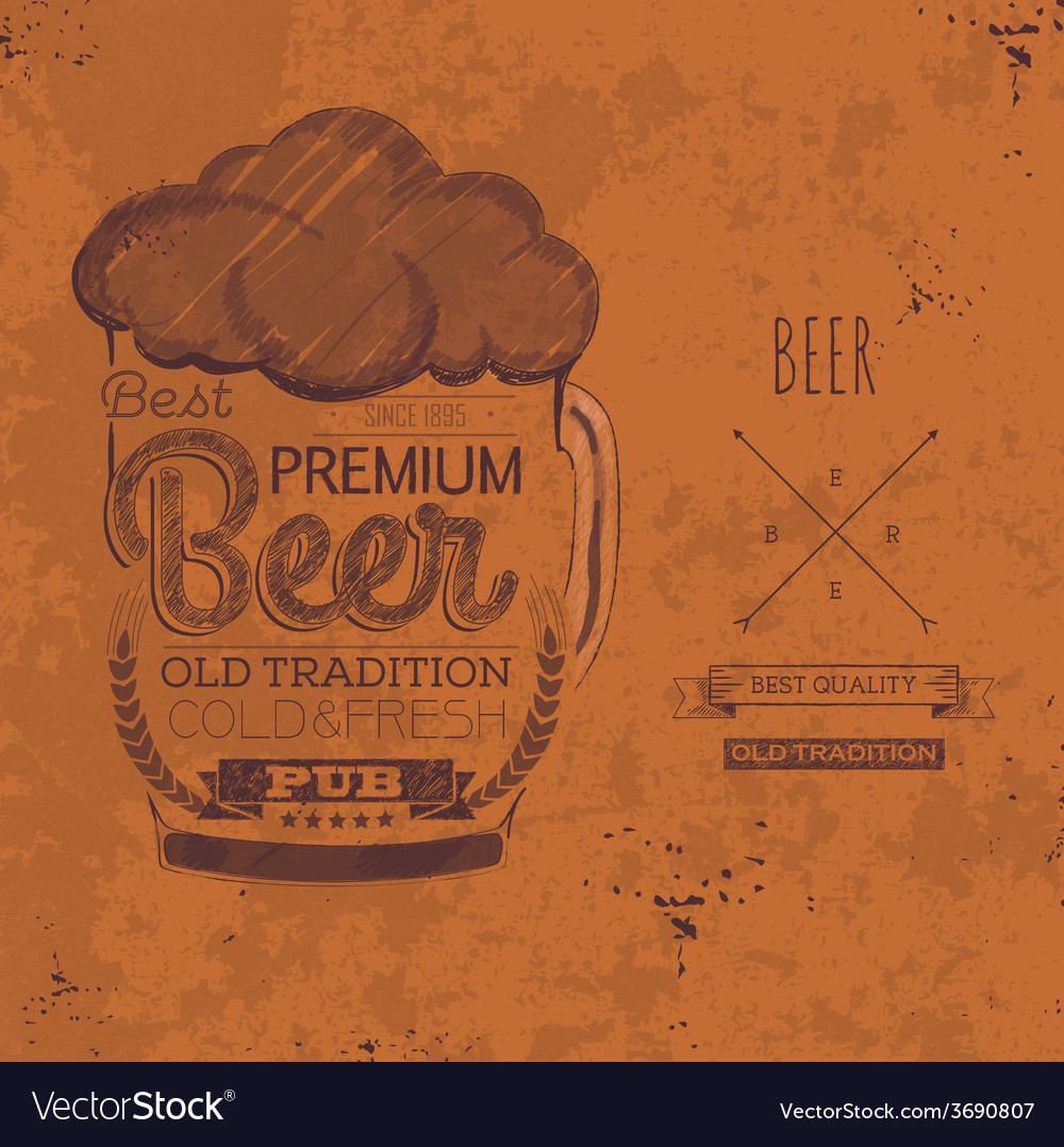Hand drawn grunge beer background vector | Price: 1 Credit (USD $1)