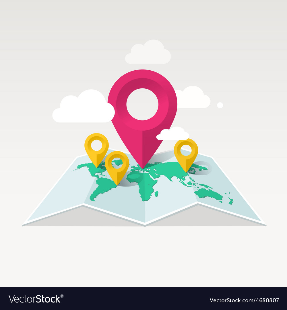 Map with markers and clouds vector | Price: 1 Credit (USD $1)