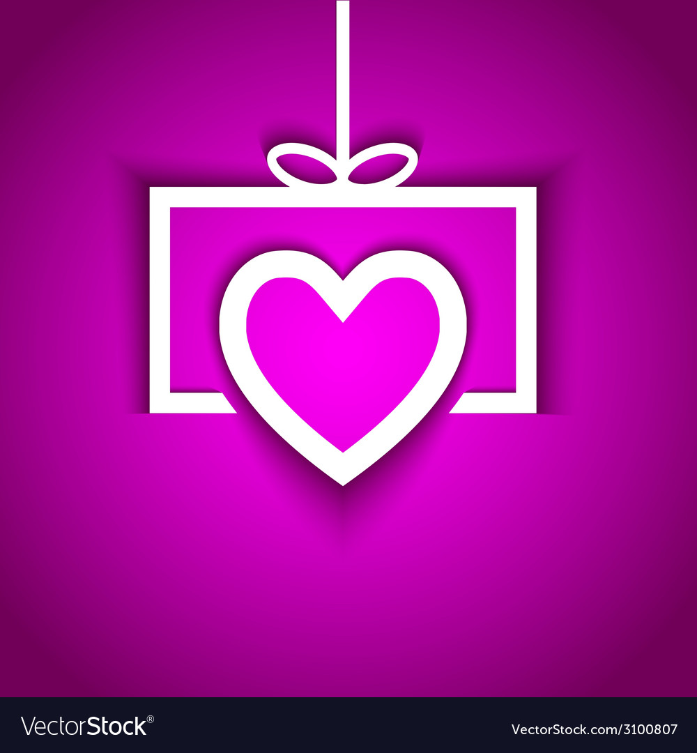 Paper love gift with shadow effect vector | Price: 1 Credit (USD $1)