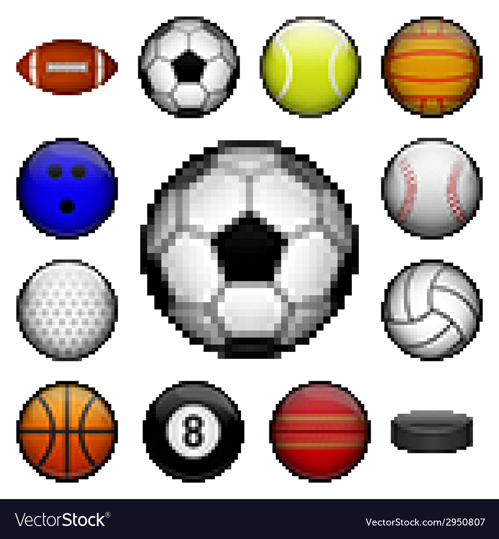 Pixel sports balls vector | Price: 1 Credit (USD $1)