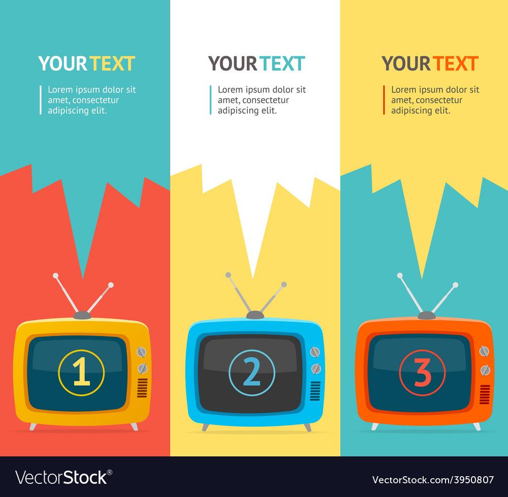 Retro tv option banner flat design vector   Price: 1 Credit (USD $1)