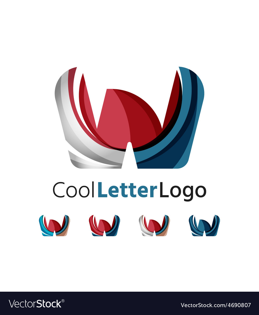 Set of abstract w letter company logos business vector | Price: 1 Credit (USD $1)