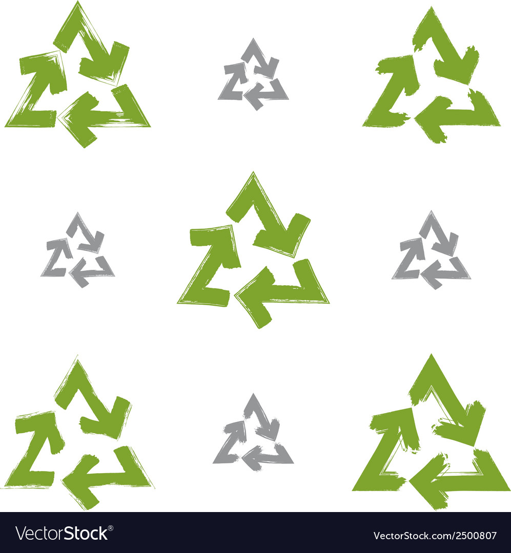 Set of hand-painted recycle signs isolated on vector | Price: 1 Credit (USD $1)