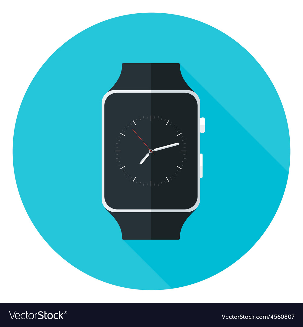 Smart watch flat circle icon vector | Price: 1 Credit (USD $1)