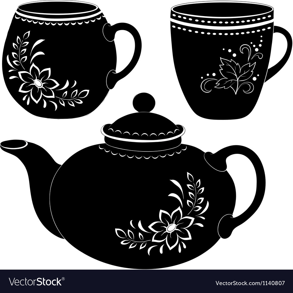 Teapot and cups silhouettes vector | Price: 1 Credit (USD $1)