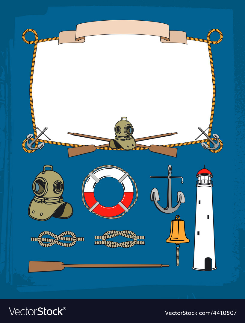Vintage nautical rope frame decorative symbols vector | Price: 1 Credit (USD $1)