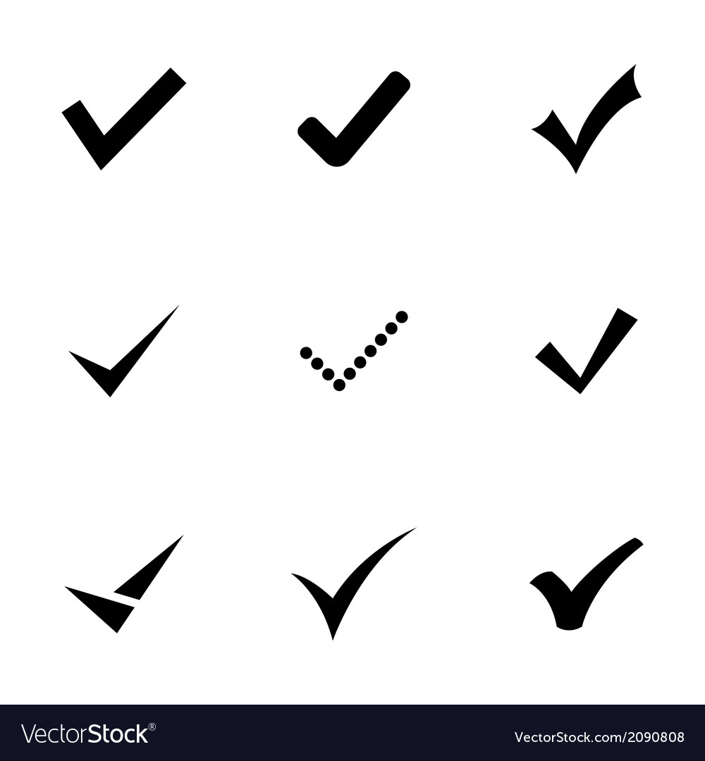 Black confirm icons set vector | Price: 1 Credit (USD $1)