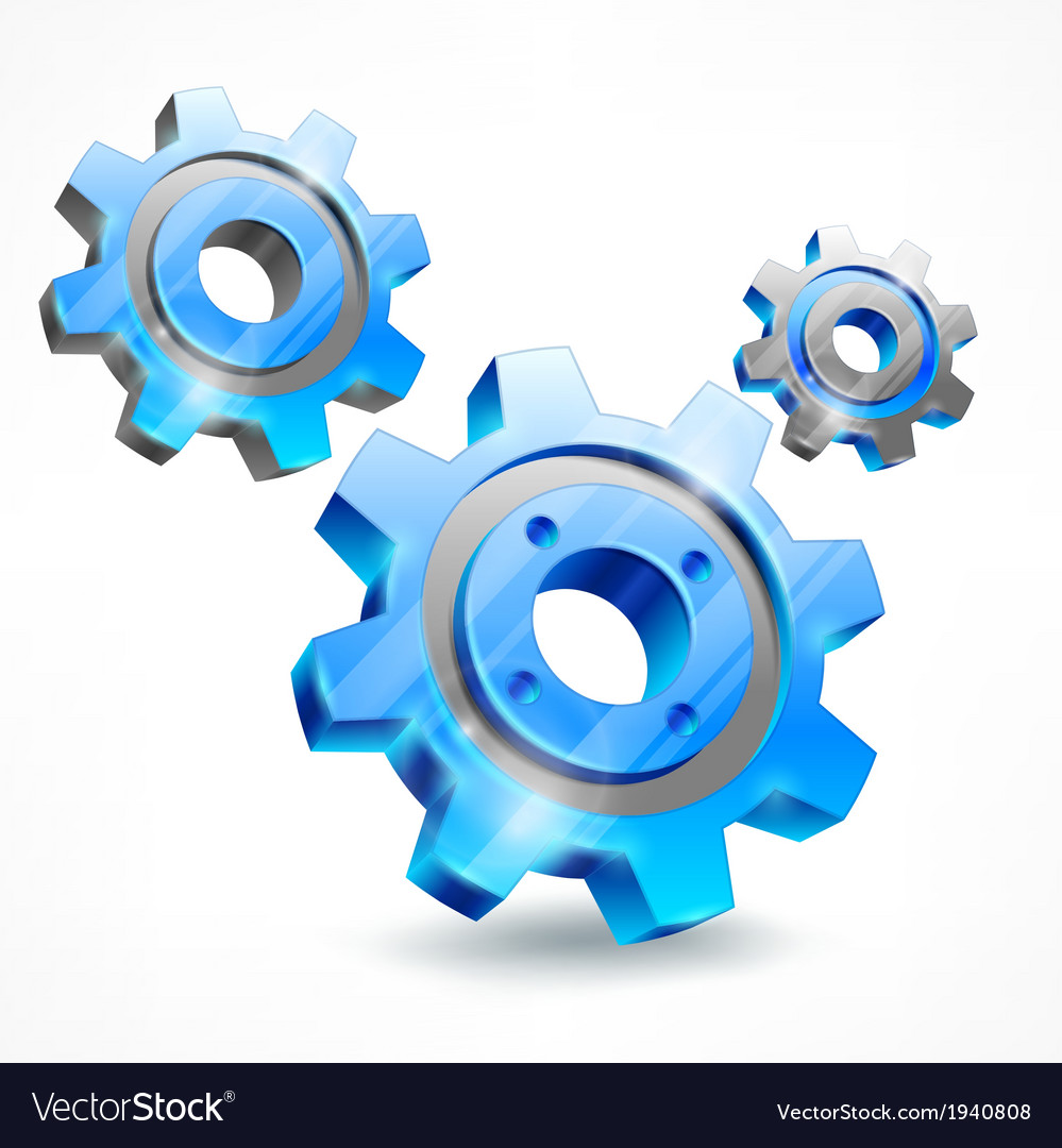 Blue three gears on white vector | Price: 1 Credit (USD $1)