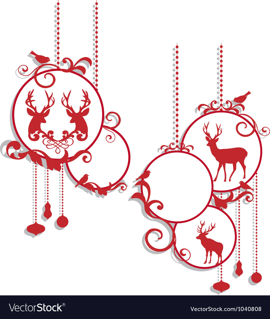 Christmas balls with deers and birds vector | Price: 1 Credit (USD $1)