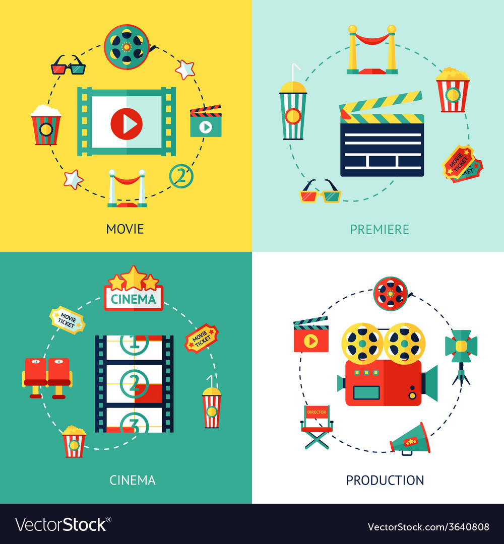 Cinema flat set vector | Price: 1 Credit (USD $1)
