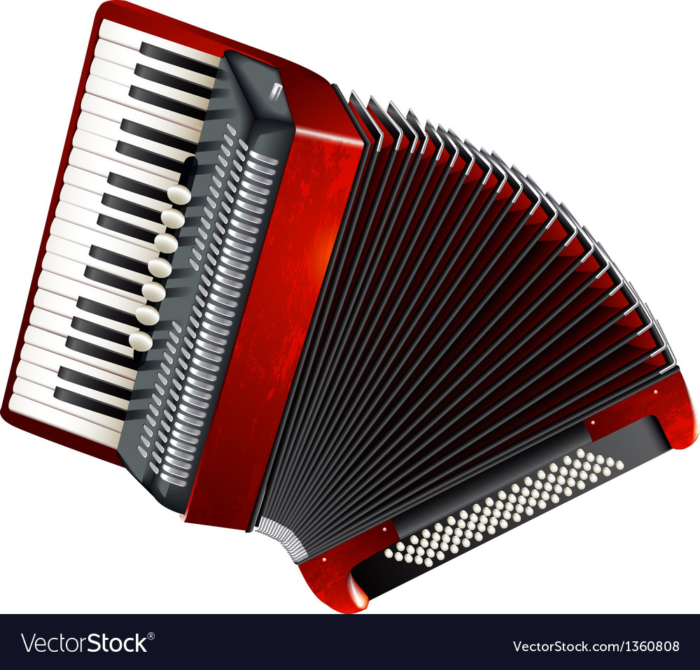 Classical accordion isolated on white background vector | Price: 3 Credit (USD $3)