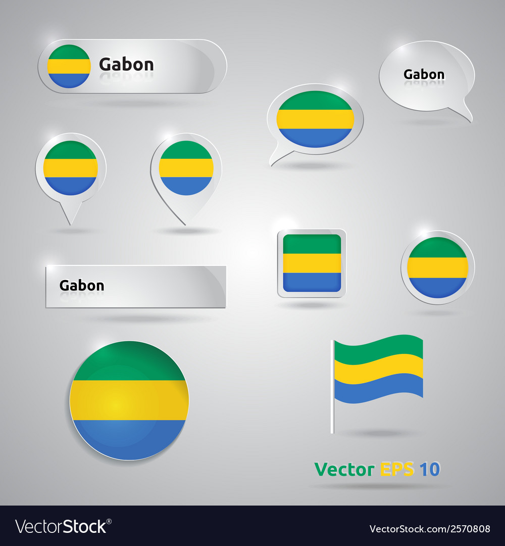 Gabon icon set of flags vector | Price: 1 Credit (USD $1)