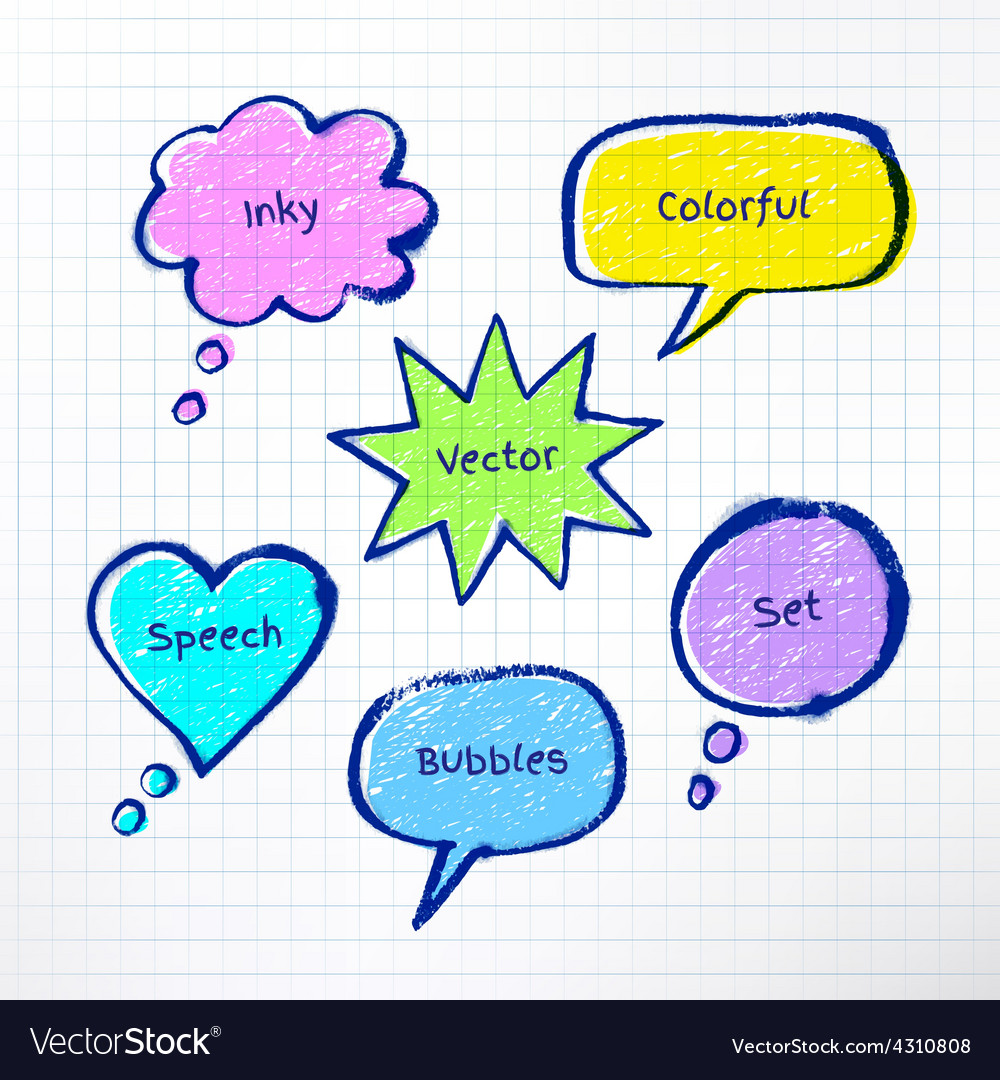 Inky colorful bubble-talks vector | Price: 1 Credit (USD $1)