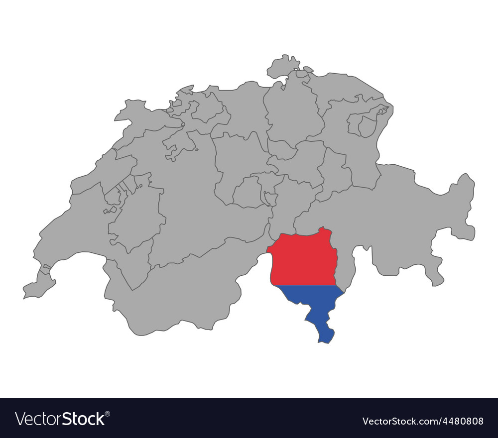 Map of switzerland with flag of ticino vector
