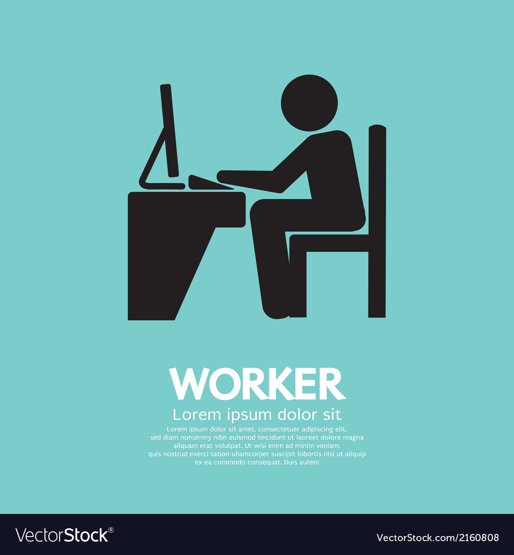 Office worker using computer vector | Price: 1 Credit (USD $1)
