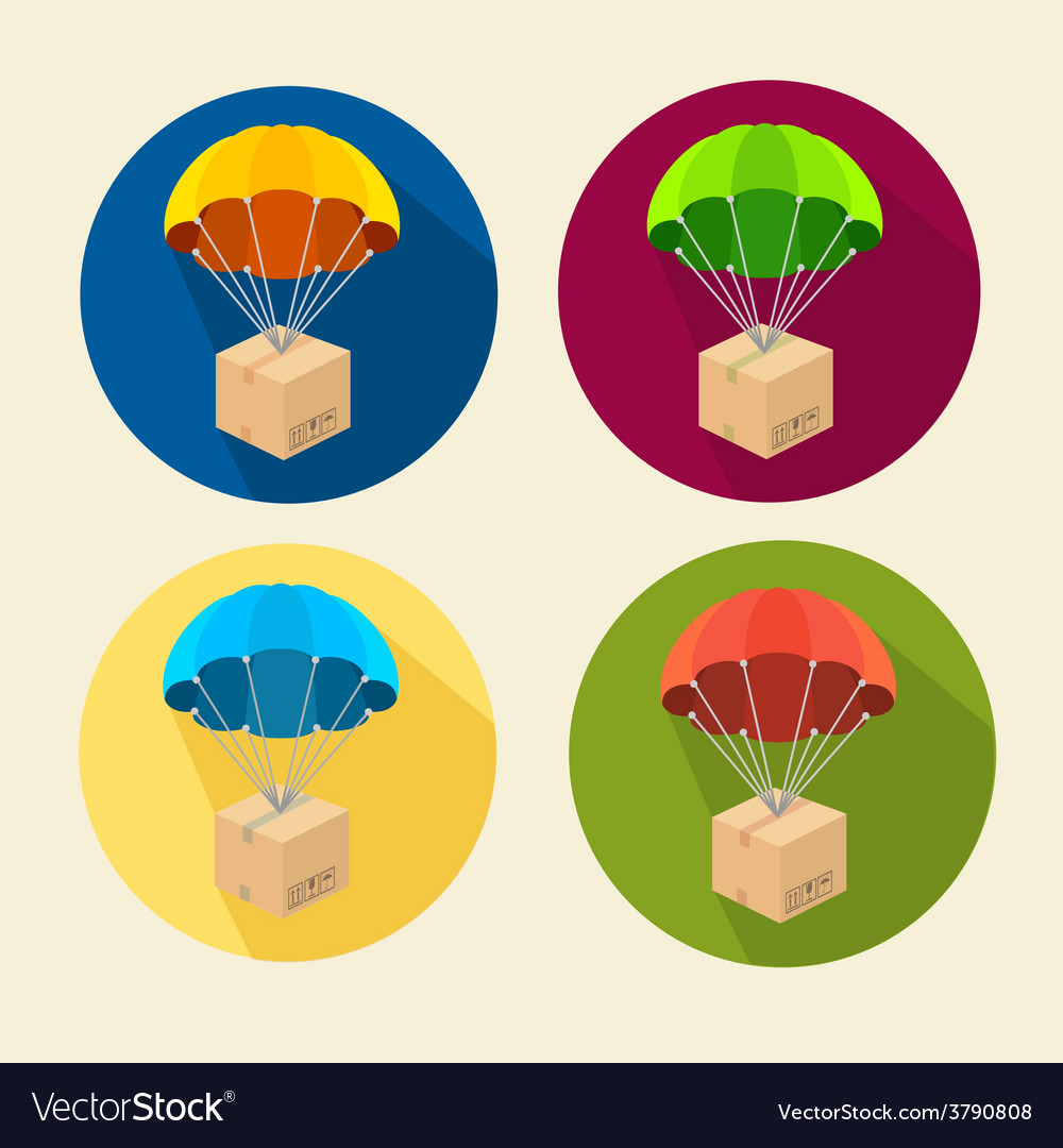 Parachutes icons set vector | Price: 1 Credit (USD $1)