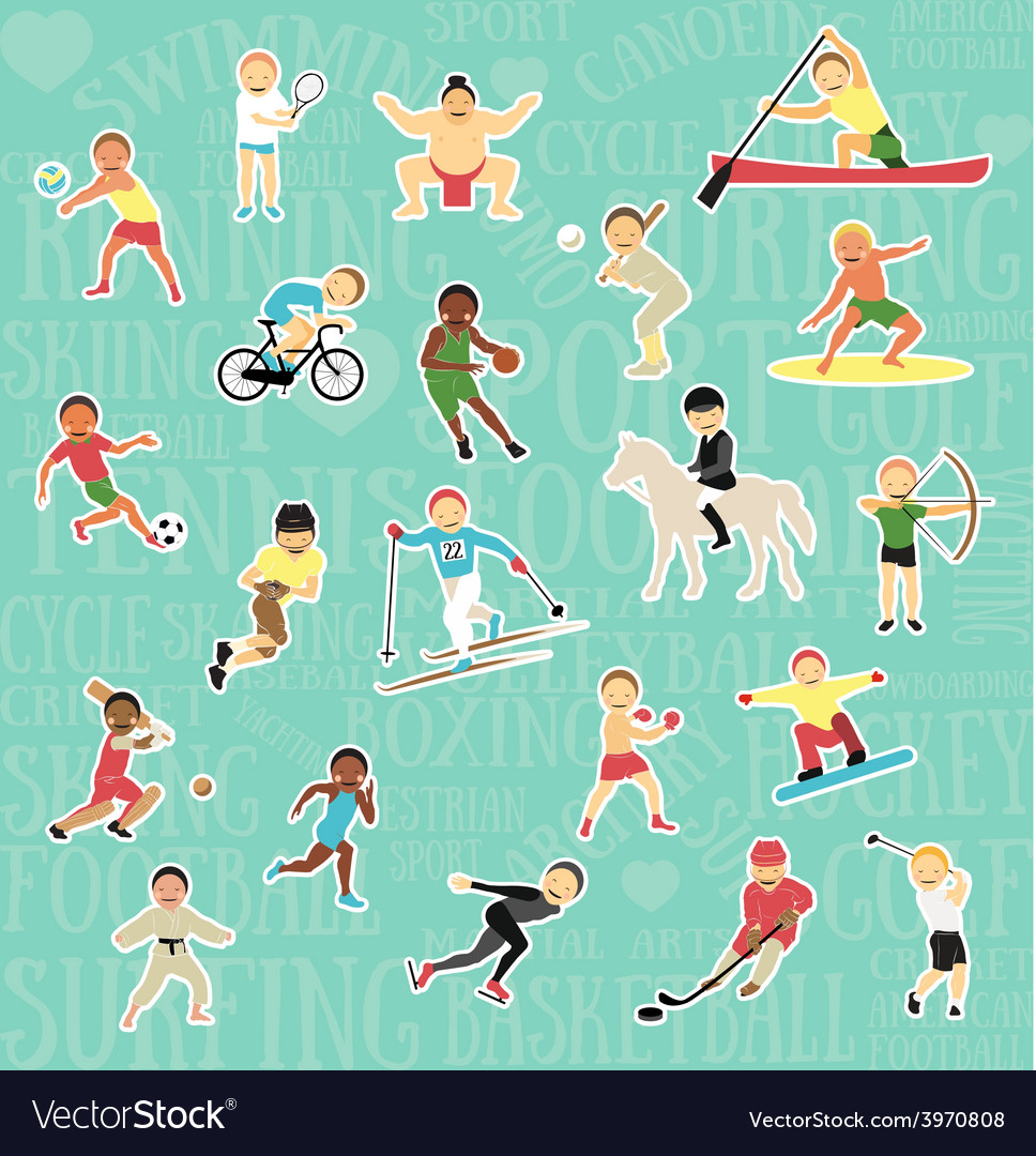 Pattern with sportsmen vector   Price: 1 Credit (USD $1)