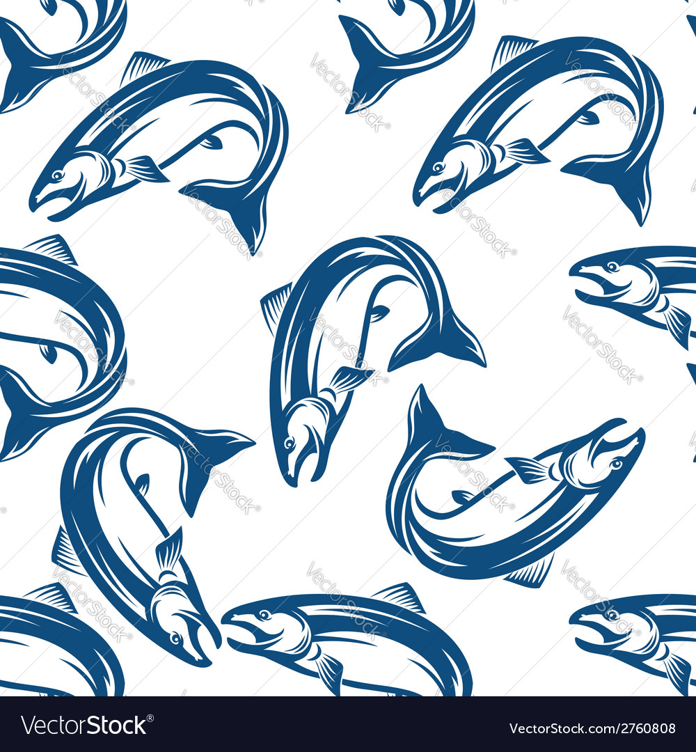 Salmon fish seamless pattern vector | Price: 1 Credit (USD $1)