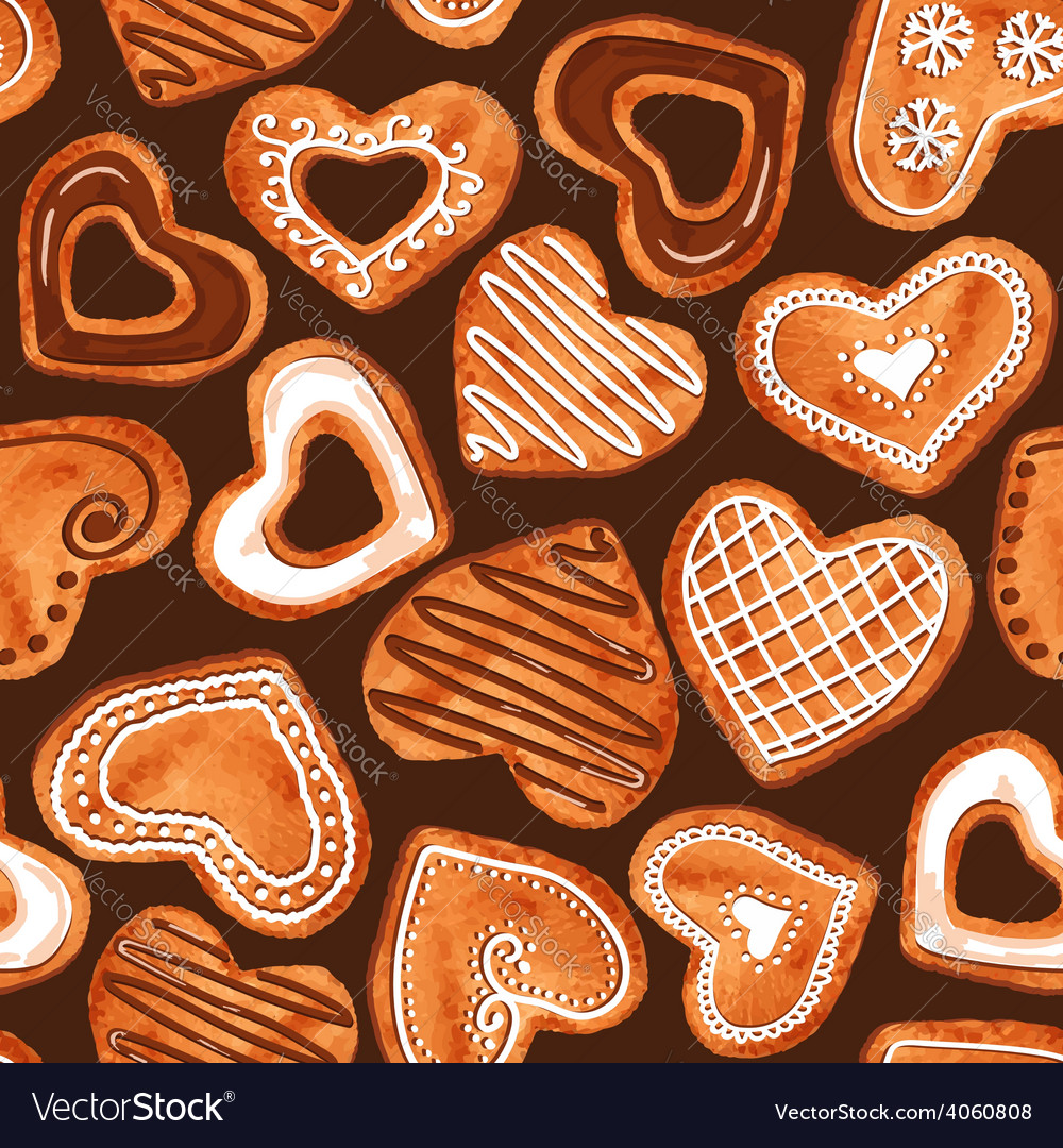 Seamless pattern of watercolor heart cookies vector | Price: 1 Credit (USD $1)