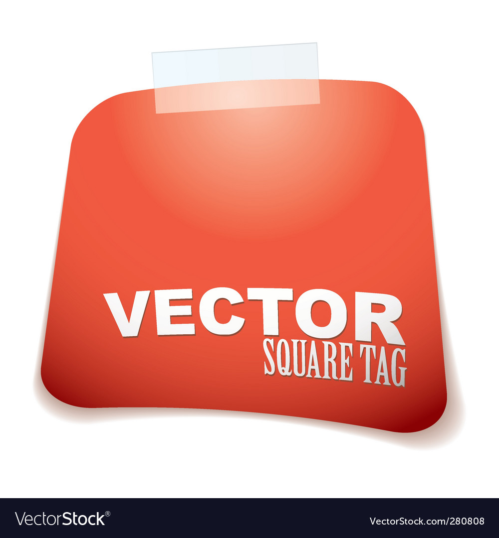 Square tag red vector | Price: 1 Credit (USD $1)