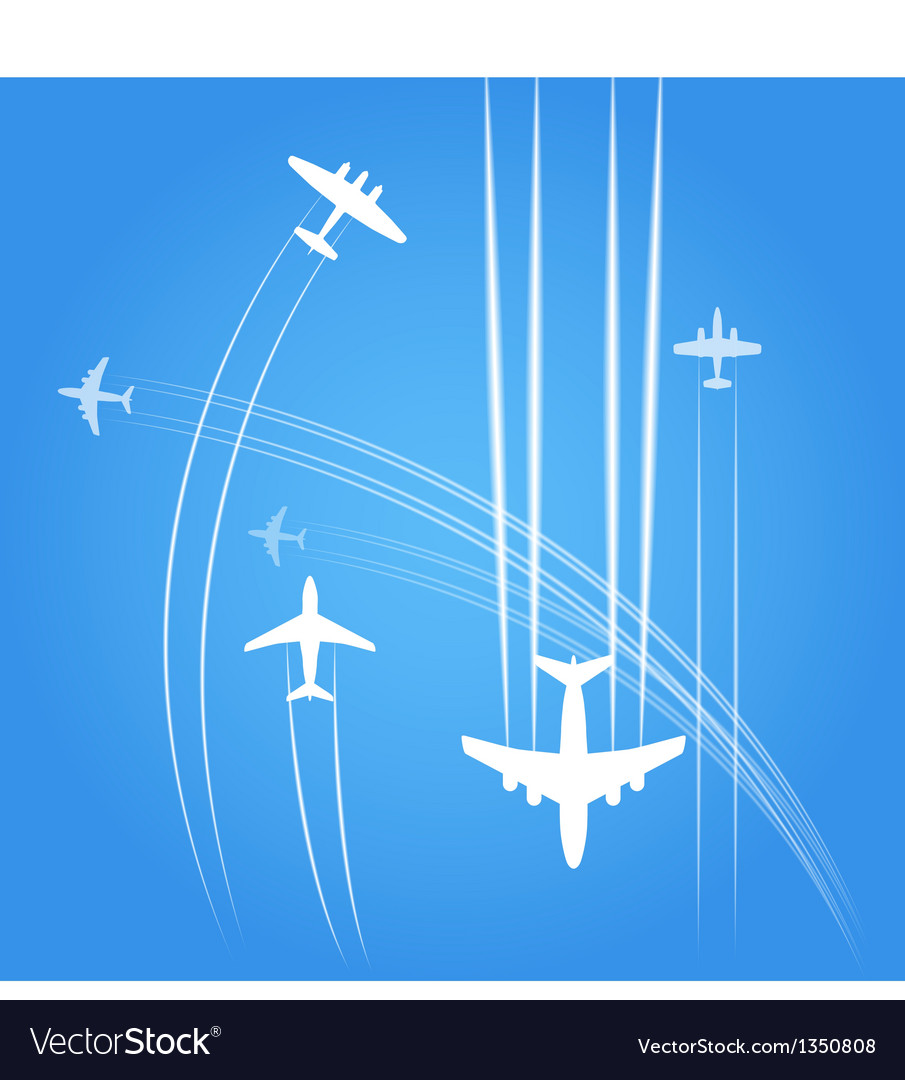 Transport and civil airplanes trajectories vector | Price: 1 Credit (USD $1)