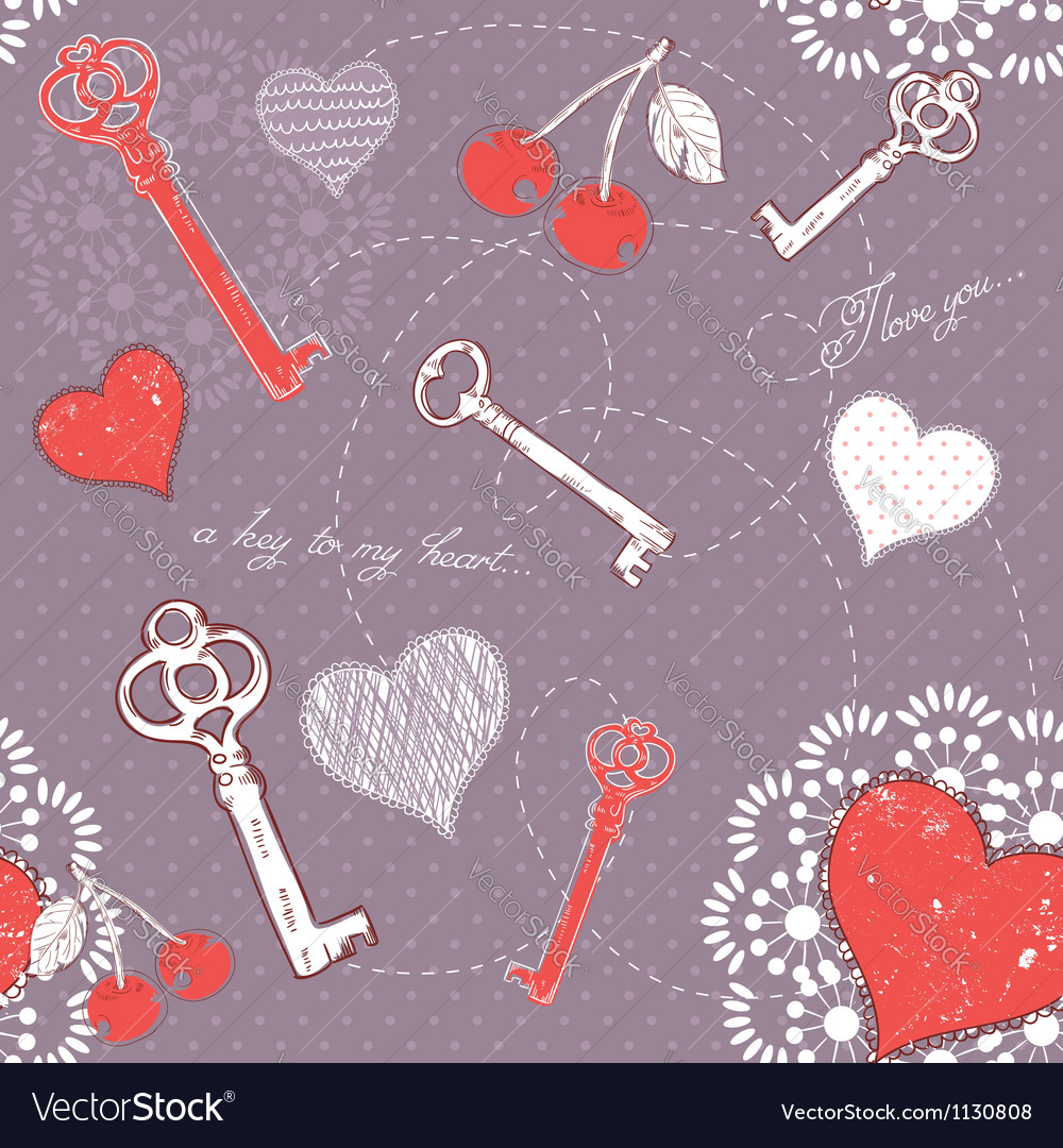 Valentine romantic love seamless pattern vector | Price: 1 Credit (USD $1)