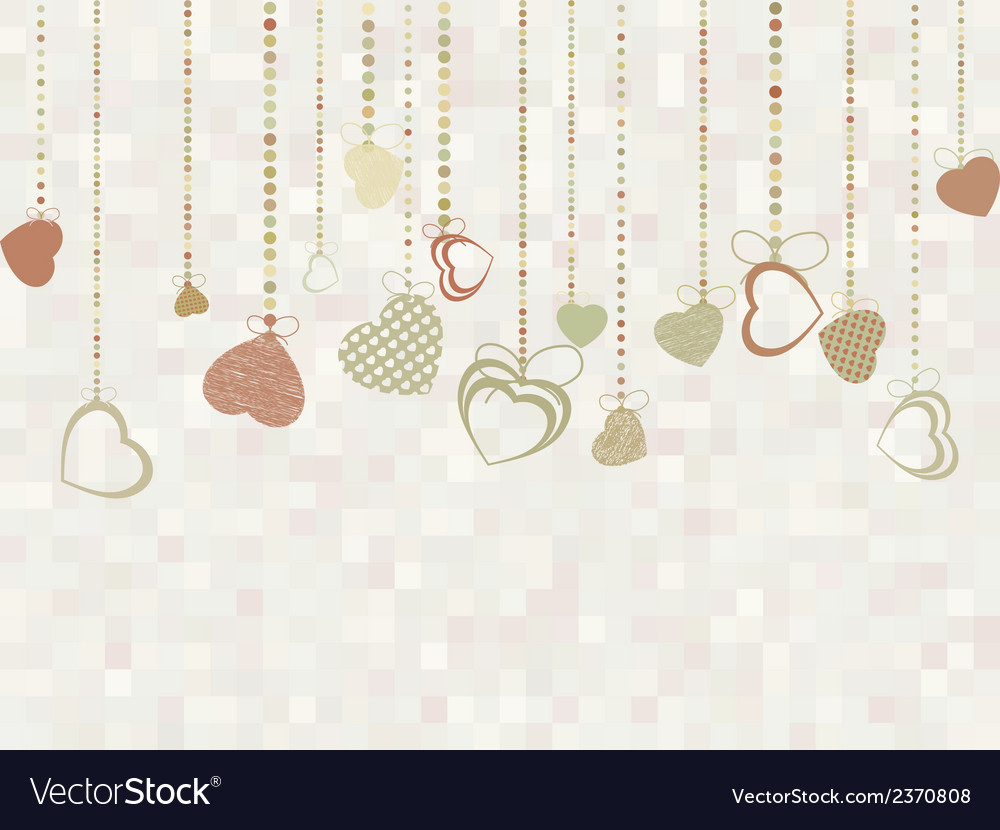 Vintage valentine card with cute hearts eps 8 vector | Price: 1 Credit (USD $1)