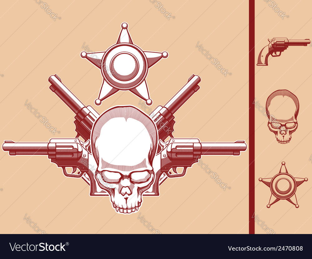 Vintage wild west skull revolver sheriff badge vector | Price: 1 Credit (USD $1)