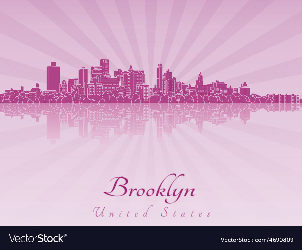 Brooklyn skyline in purple radiant orchid vector | Price: 1 Credit (USD $1)